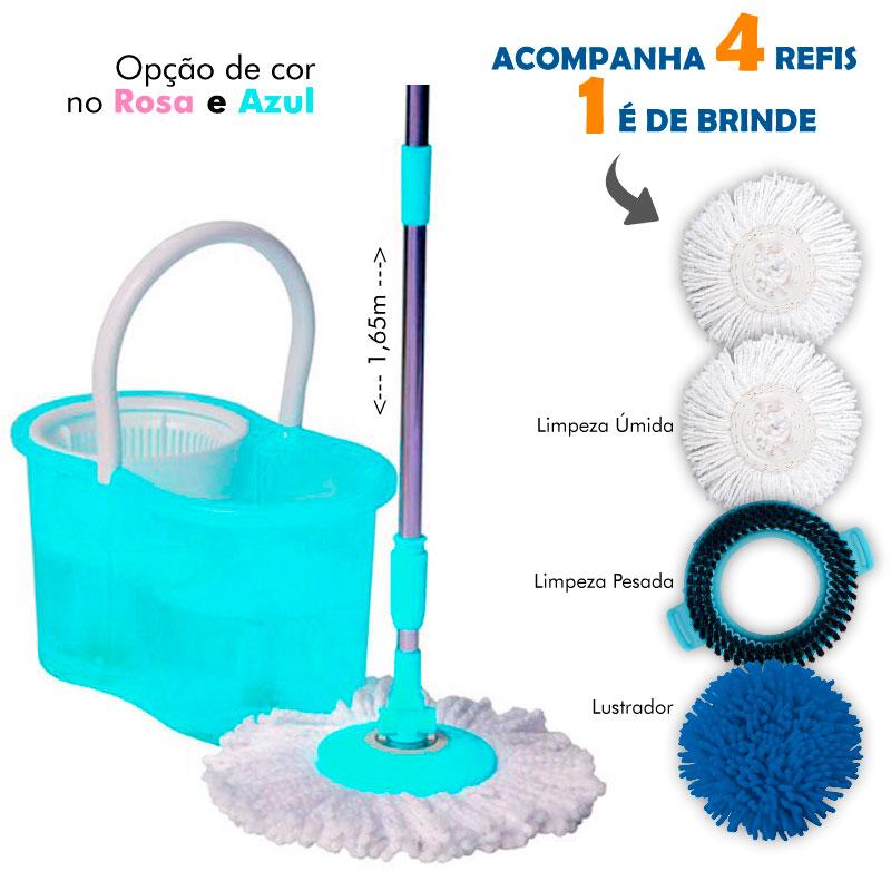 Kit Balde + Centrífuga com 4 Refis Perfect Mop 360° Azul